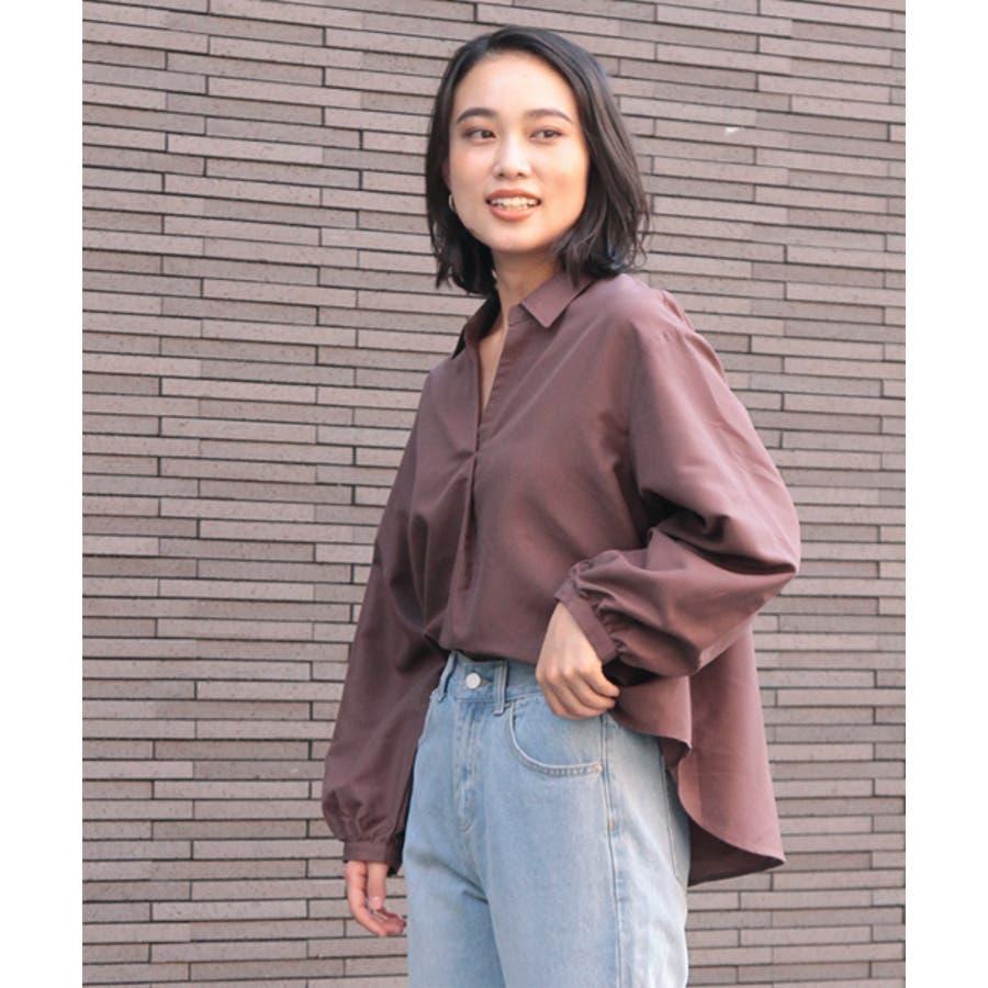 袖ボリューム前タックスキッパーシャツ 35