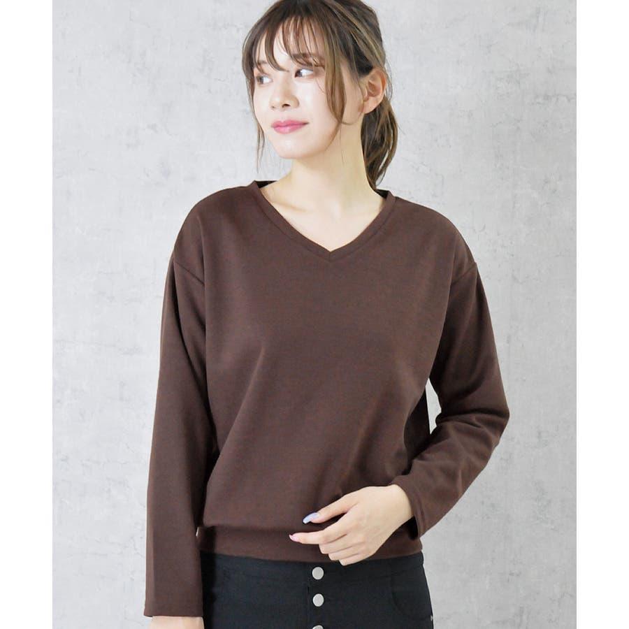 9色×ML展開!VネックシンプルプルオーバーカットソーロングTシャツ 29