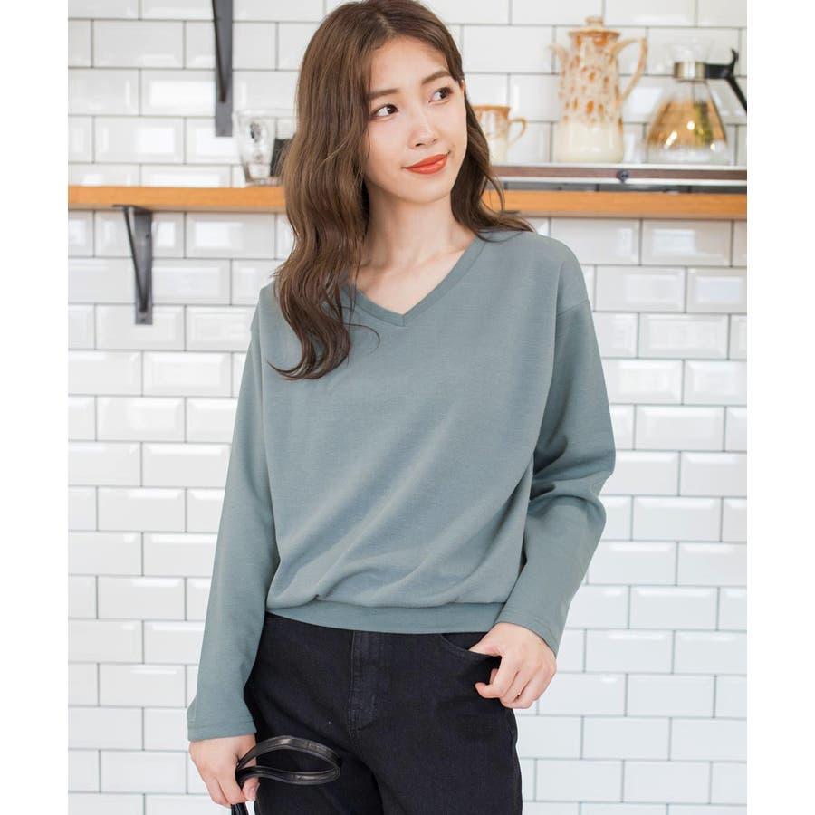 9色×ML展開!VネックシンプルプルオーバーカットソーロングTシャツ 24