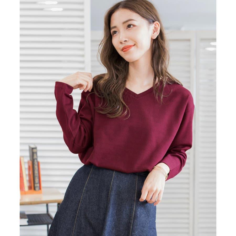 9色×ML展開!VネックシンプルプルオーバーカットソーロングTシャツ 97