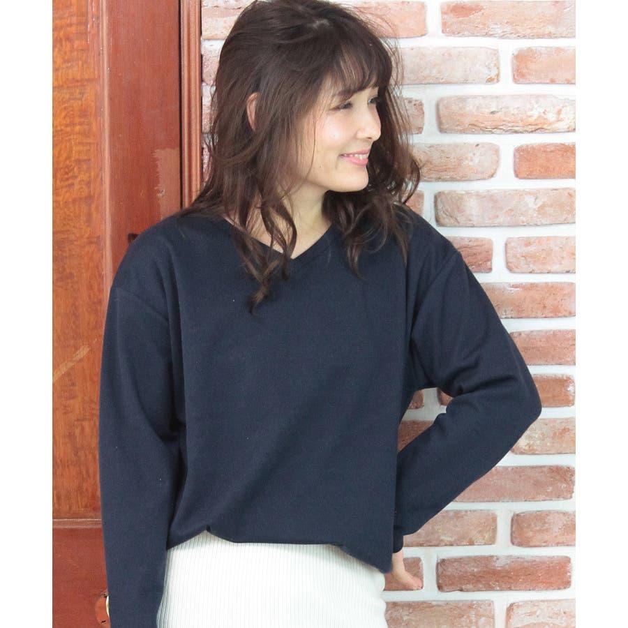 9色×ML展開!VネックシンプルプルオーバーカットソーロングTシャツ 64