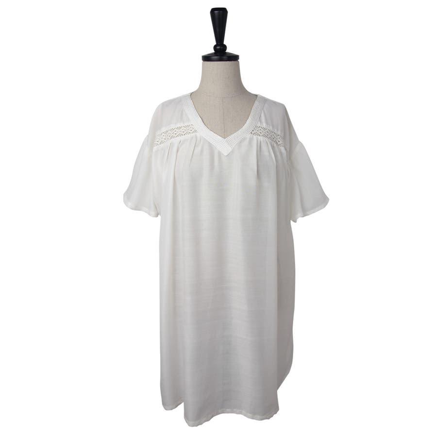 刺繍入り 無地 チュニック ブラウス Tシャツ 8