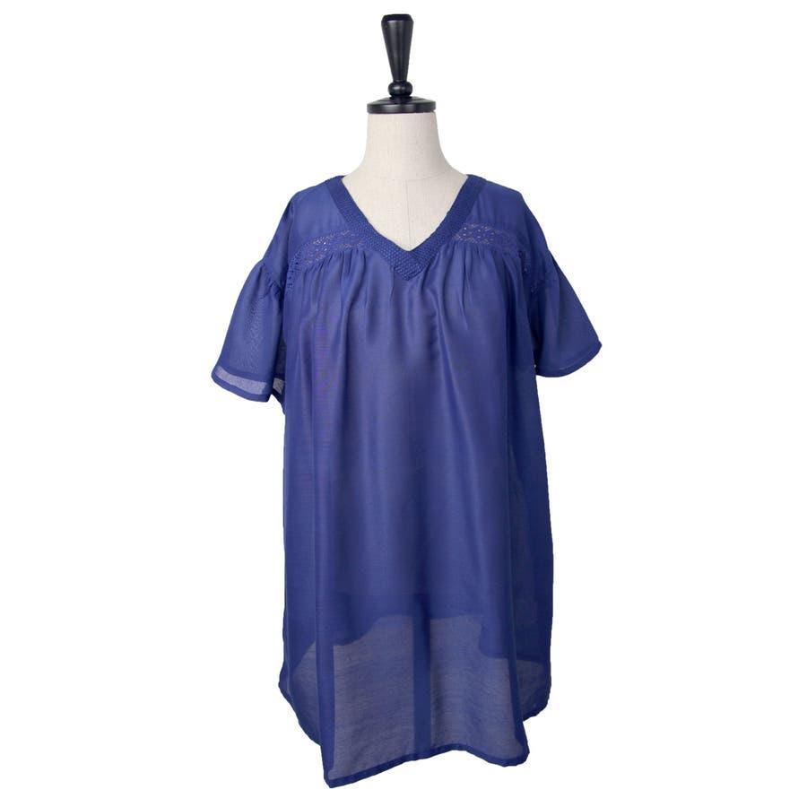 刺繍入り 無地 チュニック ブラウス Tシャツ 10