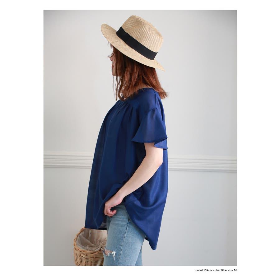 刺繍入り 無地 チュニック ブラウス Tシャツ 3