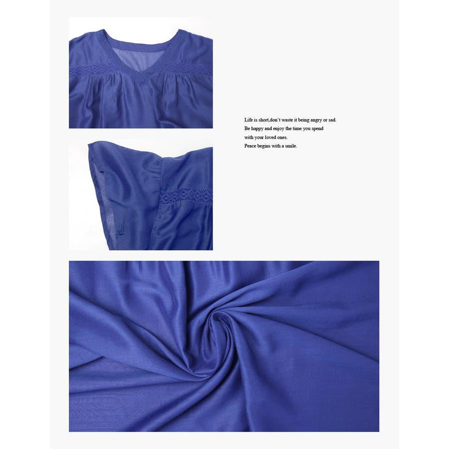 刺繍入り 無地 チュニック ブラウス Tシャツ 5