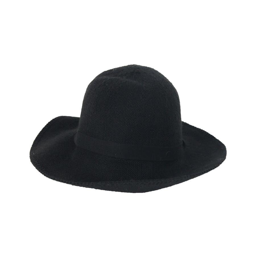 ウール混 リボン付きハット 帽子 10