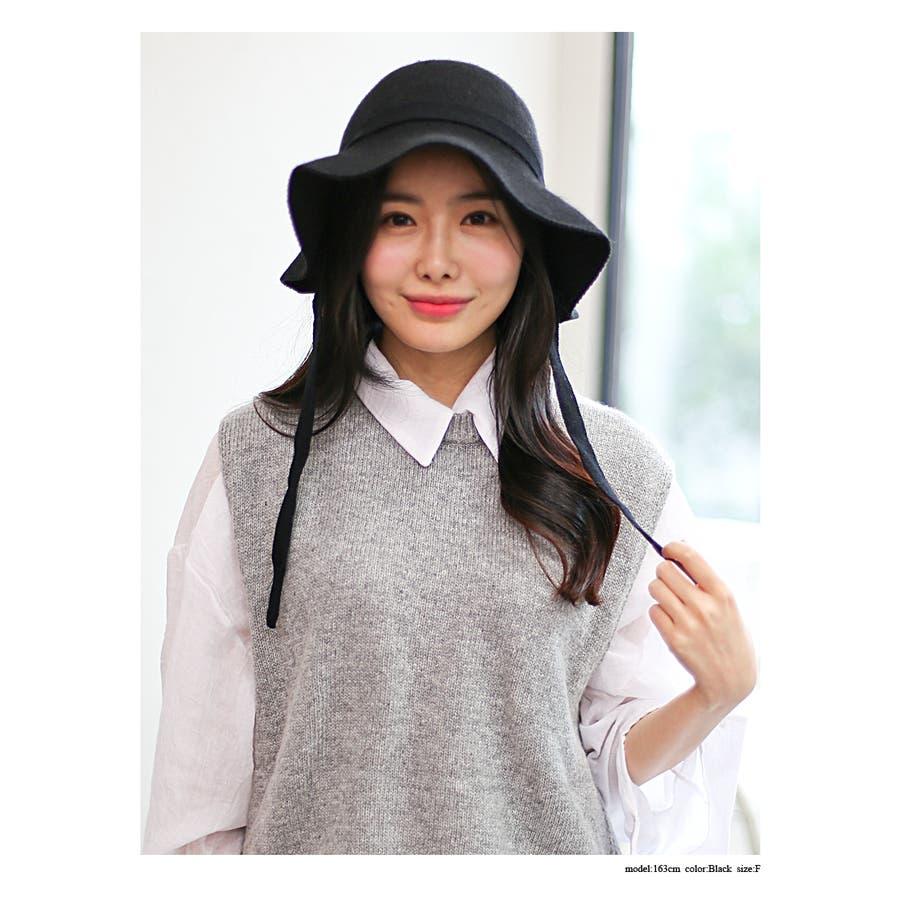 ウール混 リボン付きハット 帽子 3