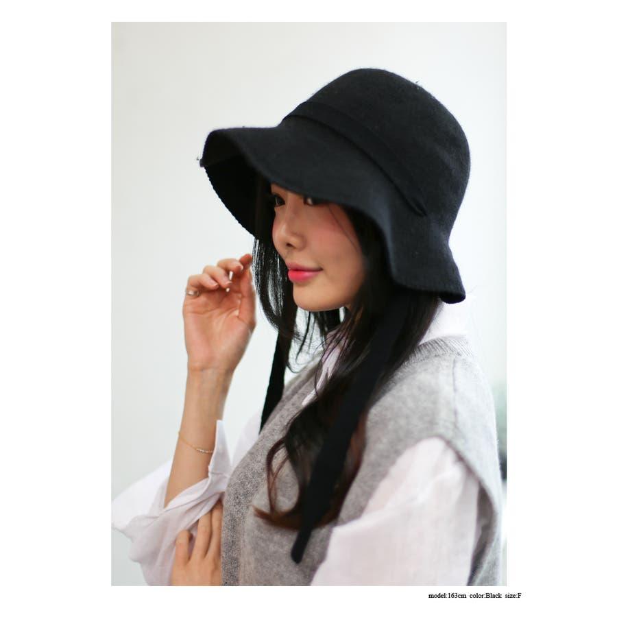 ウール混 リボン付きハット 帽子 5