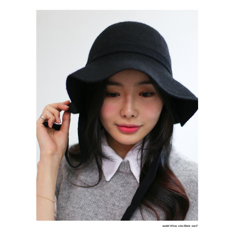 ウール混 リボン付きハット 帽子 6