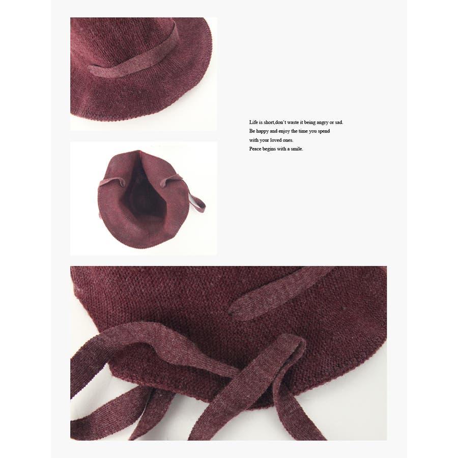 ウール混 リボン付きハット 帽子 7