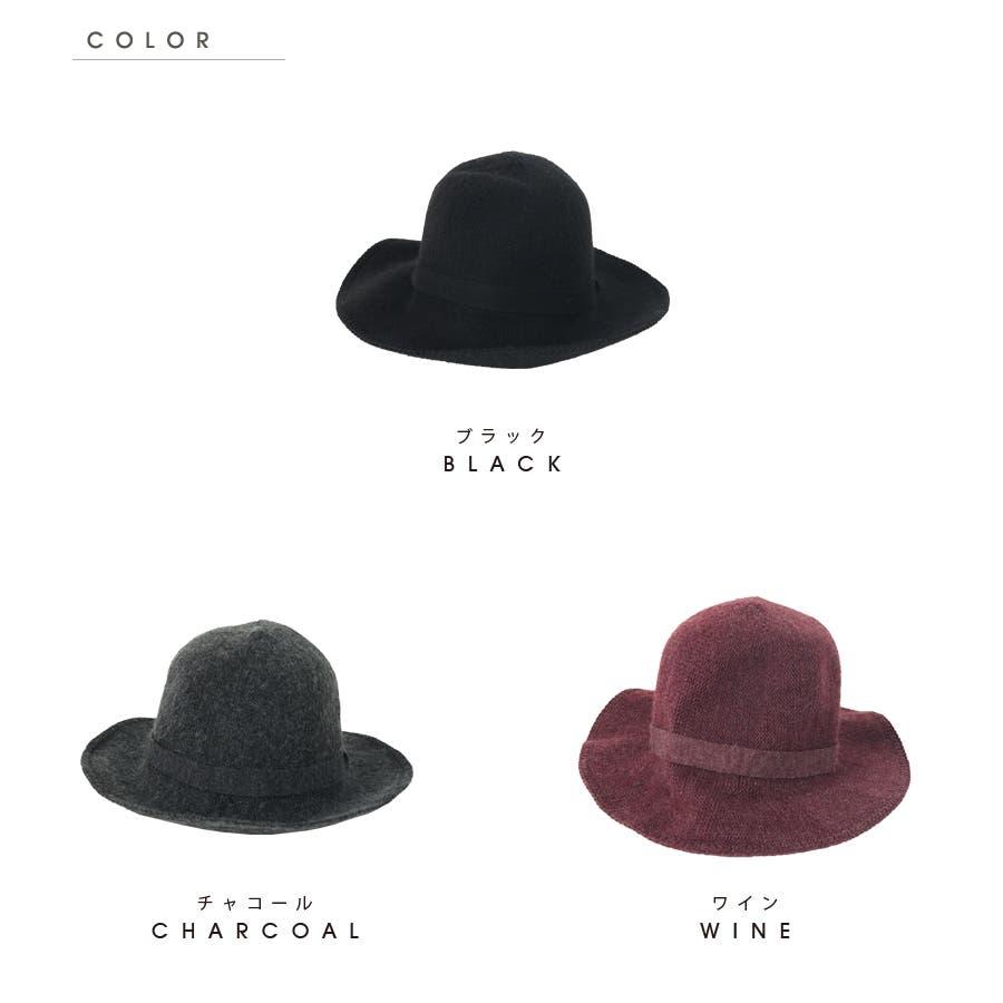 ウール混 リボン付きハット 帽子 8