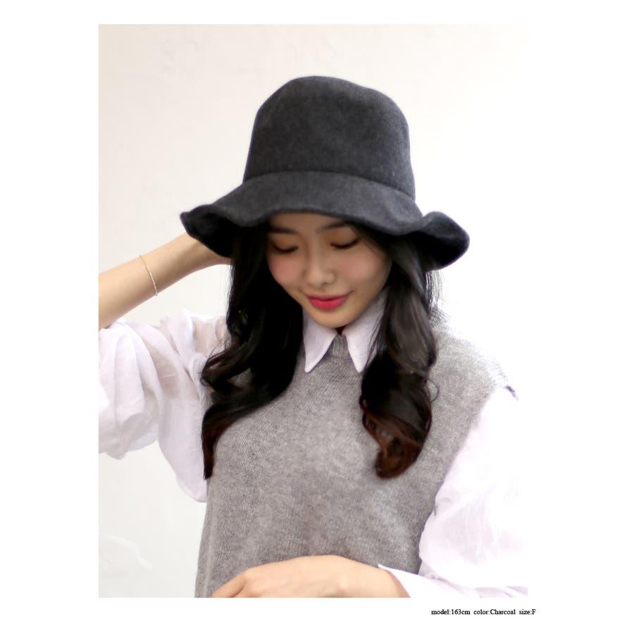 ウール混 ラウンドハット 帽子 4
