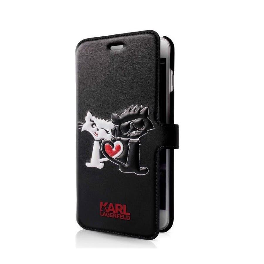 Karl Lagerfeld 公式ライセンス品 Iphone8 Iphone7 手帳型ケース ブラック ブランド 白猫 黒猫マグネットベルト ハート カップル キュート ロゴ入り スマート 大人 女性 レディース おしゃれ かわいい エアージェイklflbkp7cl1bk 品番 Aiea Aien アイエン の