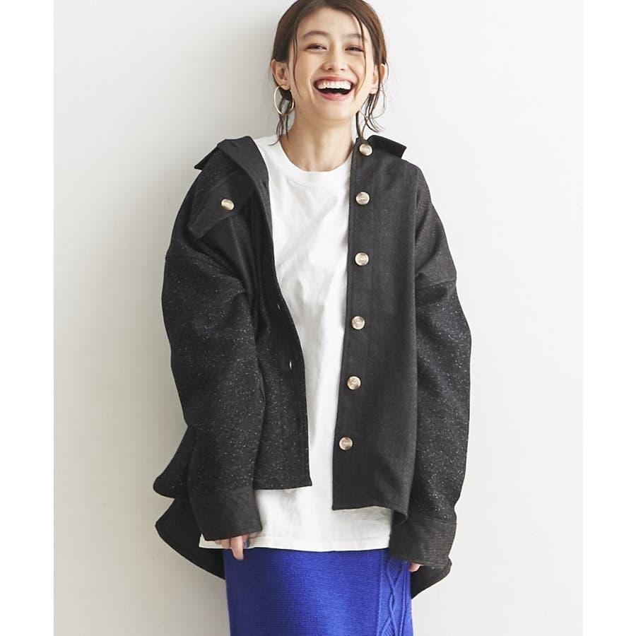 パッチワーク風 ツイード ビッグシャツジャケット/CPOジャケット 1