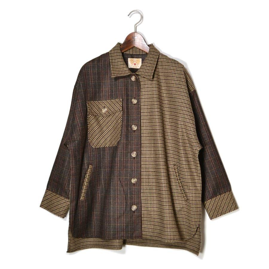 パッチワーク風 ツイード ビッグシャツジャケット/CPOジャケット 29
