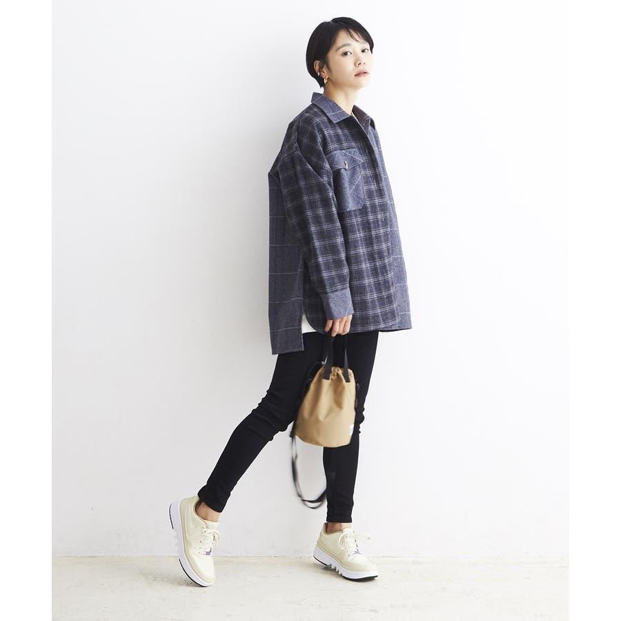 パッチワーク風 ツイード ビッグシャツジャケット/CPOジャケット 4