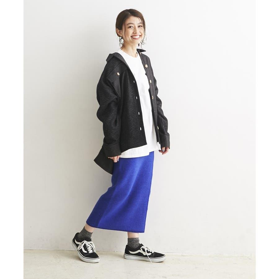 パッチワーク風 ツイード ビッグシャツジャケット/CPOジャケット 2