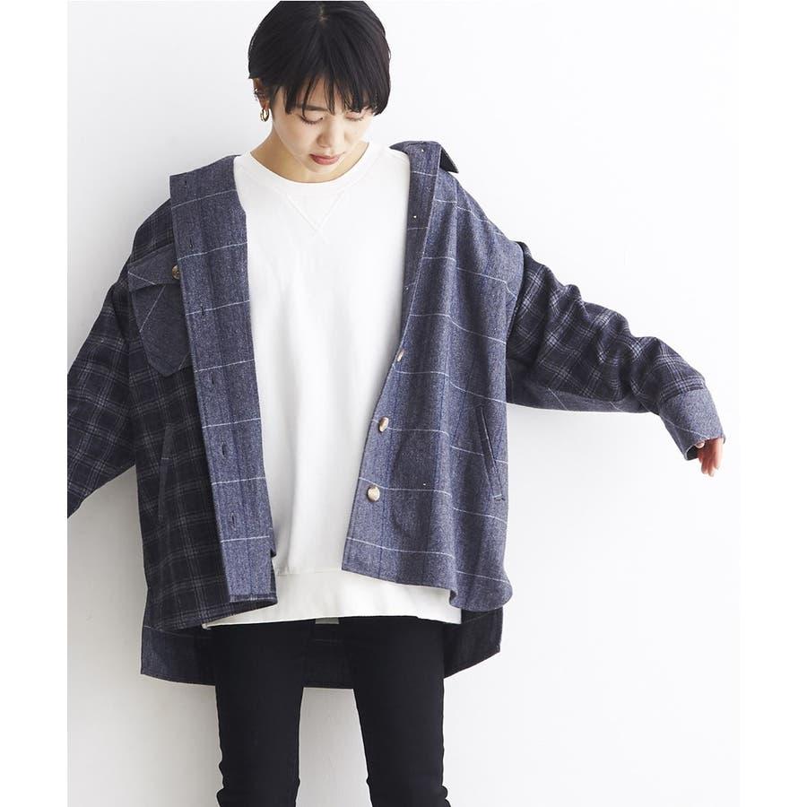 パッチワーク風 ツイード ビッグシャツジャケット/CPOジャケット 3