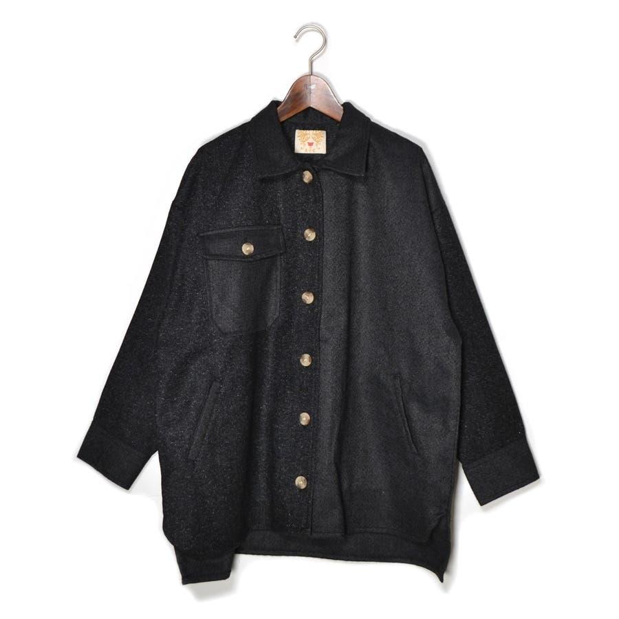 パッチワーク風 ツイード ビッグシャツジャケット/CPOジャケット 21