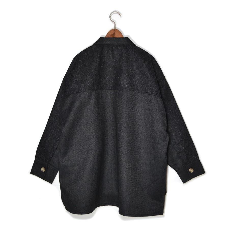 パッチワーク風 ツイード ビッグシャツジャケット/CPOジャケット 8