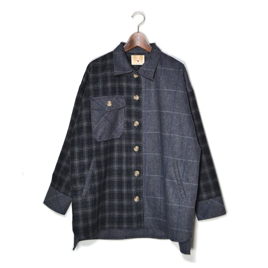 パッチワーク風 ツイード ビッグシャツジャケット/CPOジャケット 23