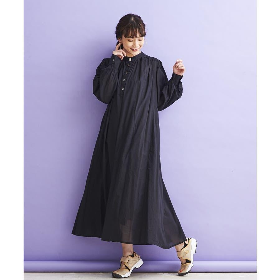 コットンボイル・バンドカラーONE PIECE DRESS 21
