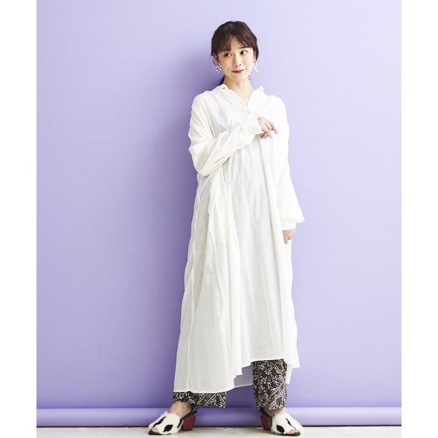 コットンボイル・バンドカラーONE PIECE DRESS 16