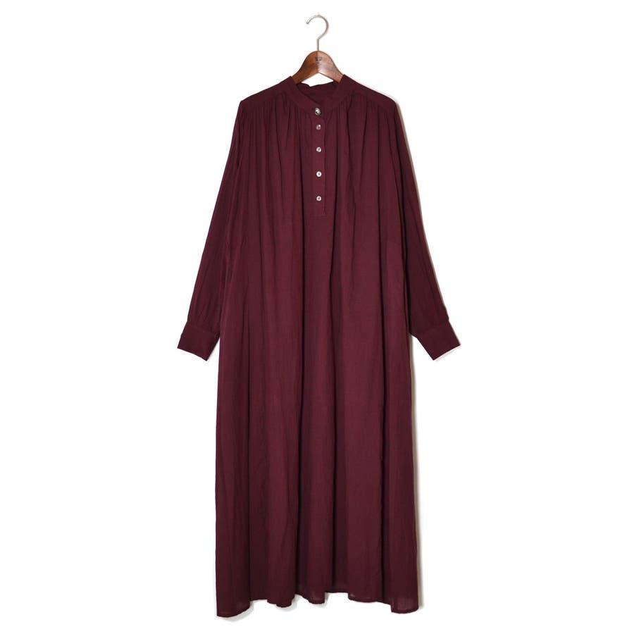 コットンボイル・バンドカラーONE PIECE DRESS 7