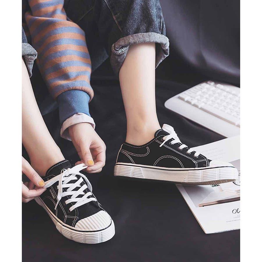 スニーカー レディース ローカット キャンバス スニーカー ベーシック 靴紐 紐靴 シューズ 運動靴 ホワイト 黒 ブラック 白 ホワイト 2