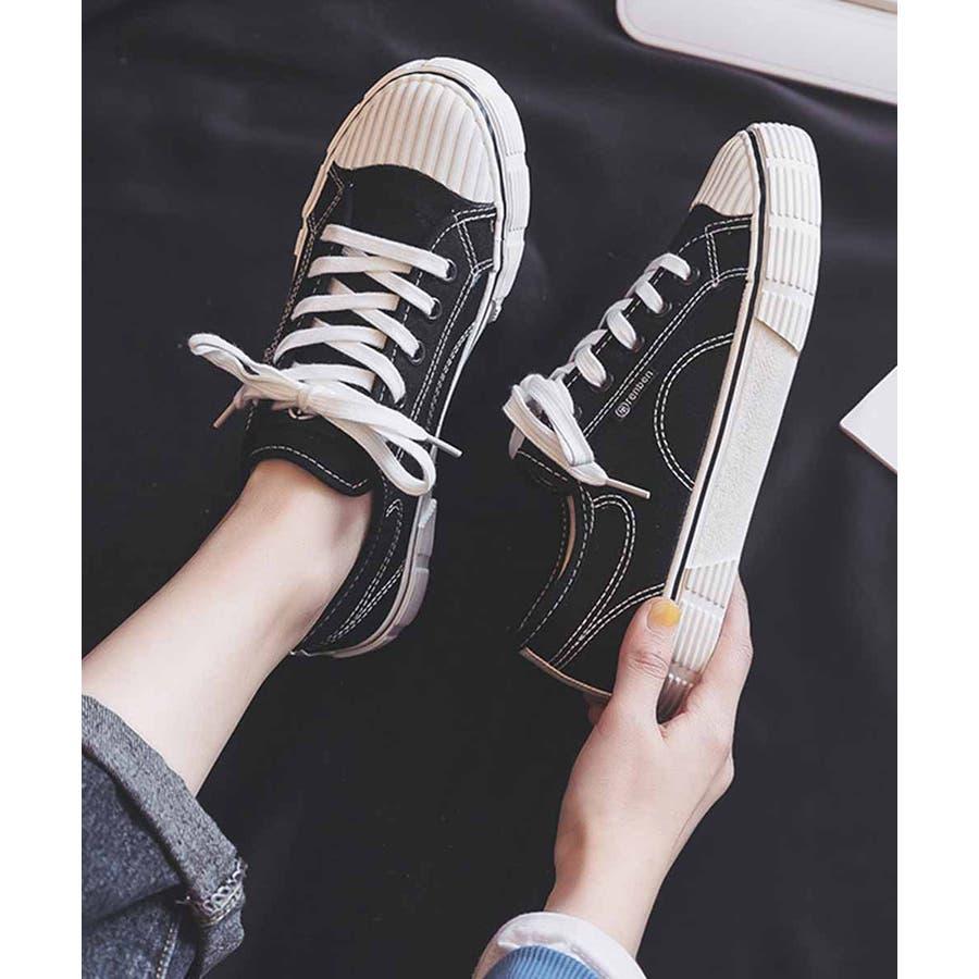 スニーカー レディース ローカット キャンバス スニーカー ベーシック 靴紐 紐靴 シューズ 運動靴 ホワイト 黒 ブラック 白 ホワイト 3