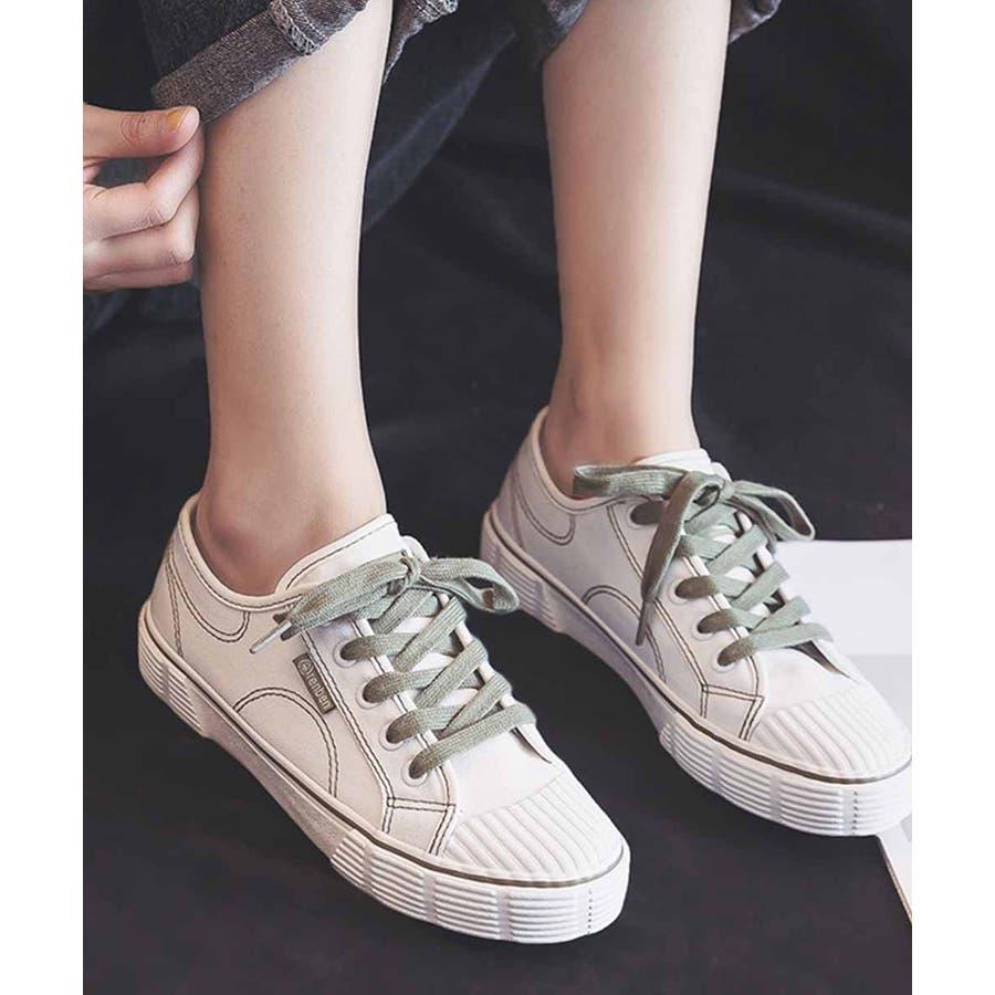 スニーカー レディース ローカット キャンバス スニーカー ベーシック 靴紐 紐靴 シューズ 運動靴 ホワイト 黒 ブラック 白 ホワイト 5