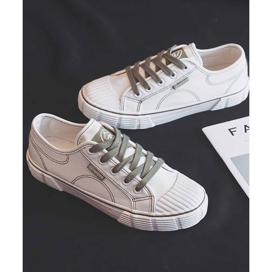 スニーカー レディース ローカット キャンバス スニーカー ベーシック 靴紐 紐靴 シューズ 運動靴 ホワイト 黒 ブラック 白 ホワイト 4