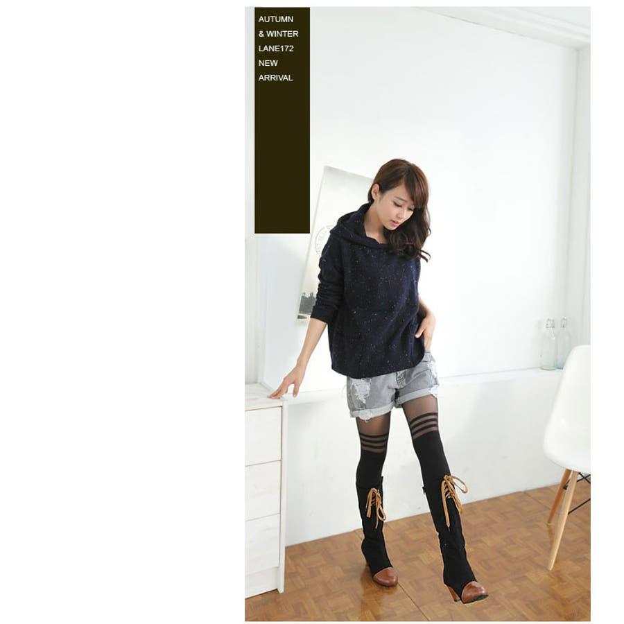 マットベルベット×フェイクレザーの高級感のあるロングブーツ/大きいサイズ【RCP】 秋冬 秋 5