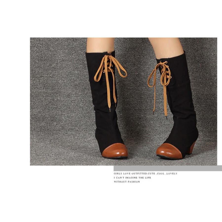 マットベルベット×フェイクレザーの高級感のあるロングブーツ/大きいサイズ【RCP】 秋冬 秋 7