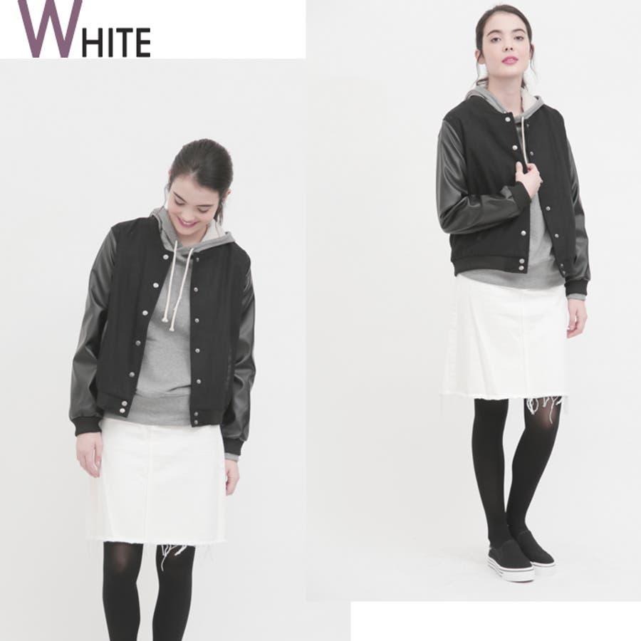 ホワイトデニムスカート レディース クラッシュ加工 5