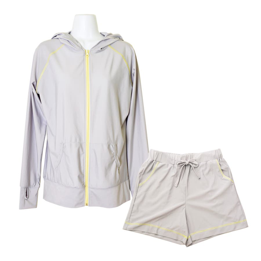 セットアップ バイカラー ラッシュガード 上下 セット 無地 UPF50+ 旅行 UVカット 海 プール フェス 登山 水着の上に着る おしゃれ 体形カバー ママ  23