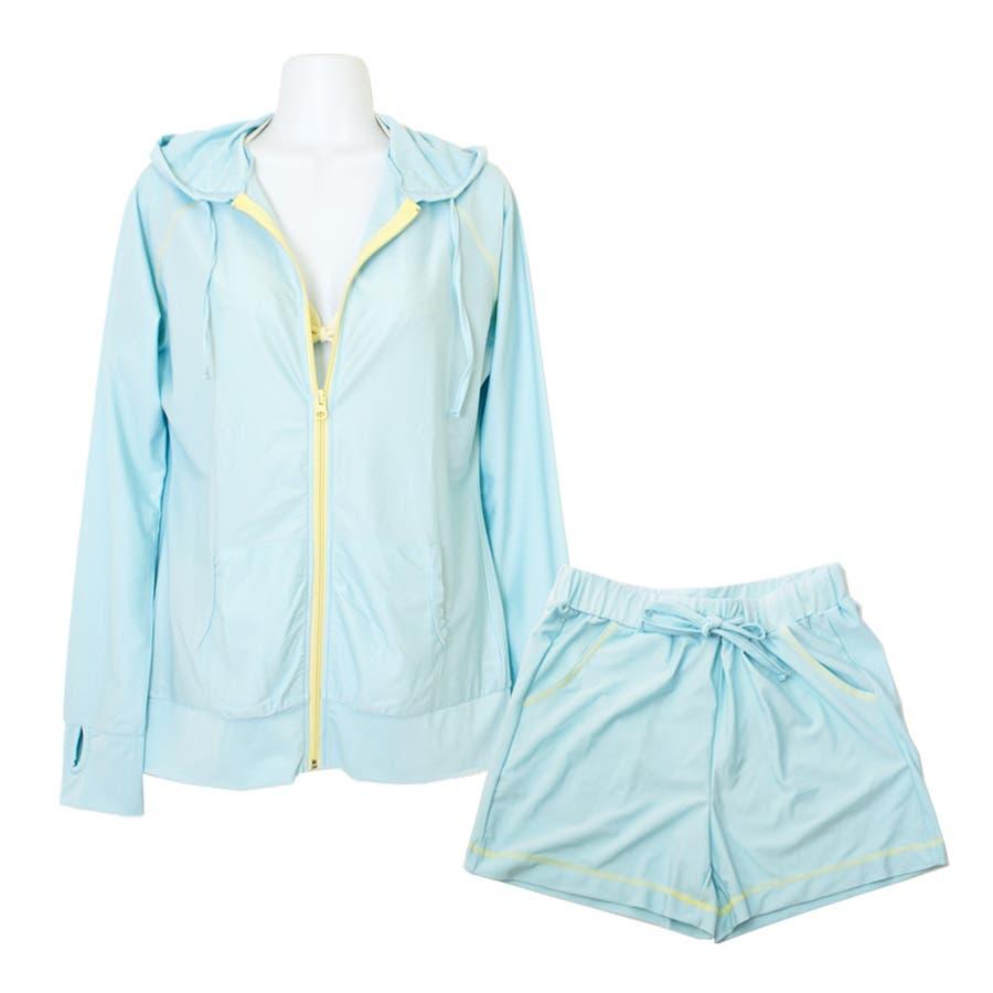 セットアップ バイカラー ラッシュガード 上下 セット 無地 UPF50+ 旅行 UVカット 海 プール フェス 登山 水着の上に着る おしゃれ 体形カバー ママ  50