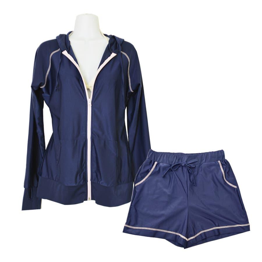 セットアップ バイカラー ラッシュガード 上下 セット 無地 UPF50+ 旅行 UVカット 海 プール フェス 登山 水着の上に着る おしゃれ 体形カバー ママ  64