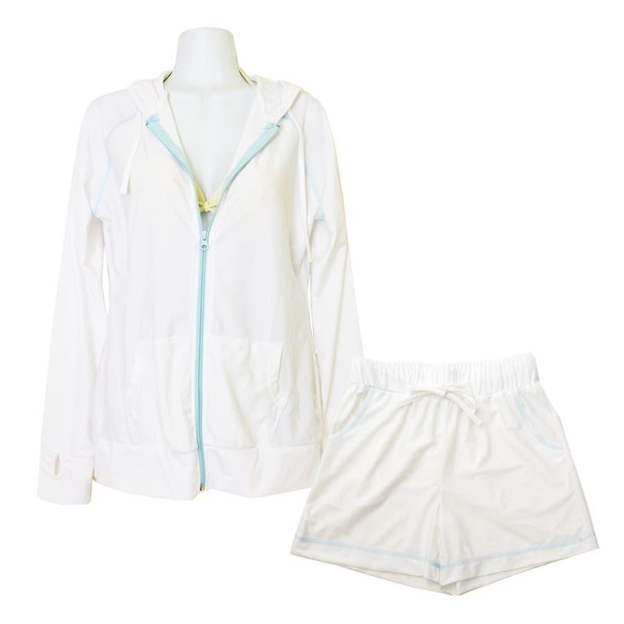 セットアップ バイカラー ラッシュガード 上下 セット 無地 UPF50+ 旅行 UVカット 海 プール フェス 登山 水着の上に着る おしゃれ 体形カバー ママ  17