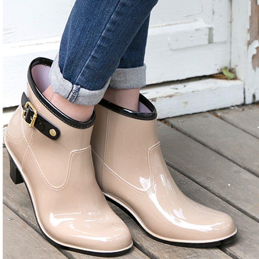6cmヒールアップ バイカラーレインブーティレインブーツ ブーツ ショートブーツ 長靴 雨靴 黒 ラバーレディースベルトブーティバイカラー ブラックネイビー【lucky5days】 シューズ 靴 41