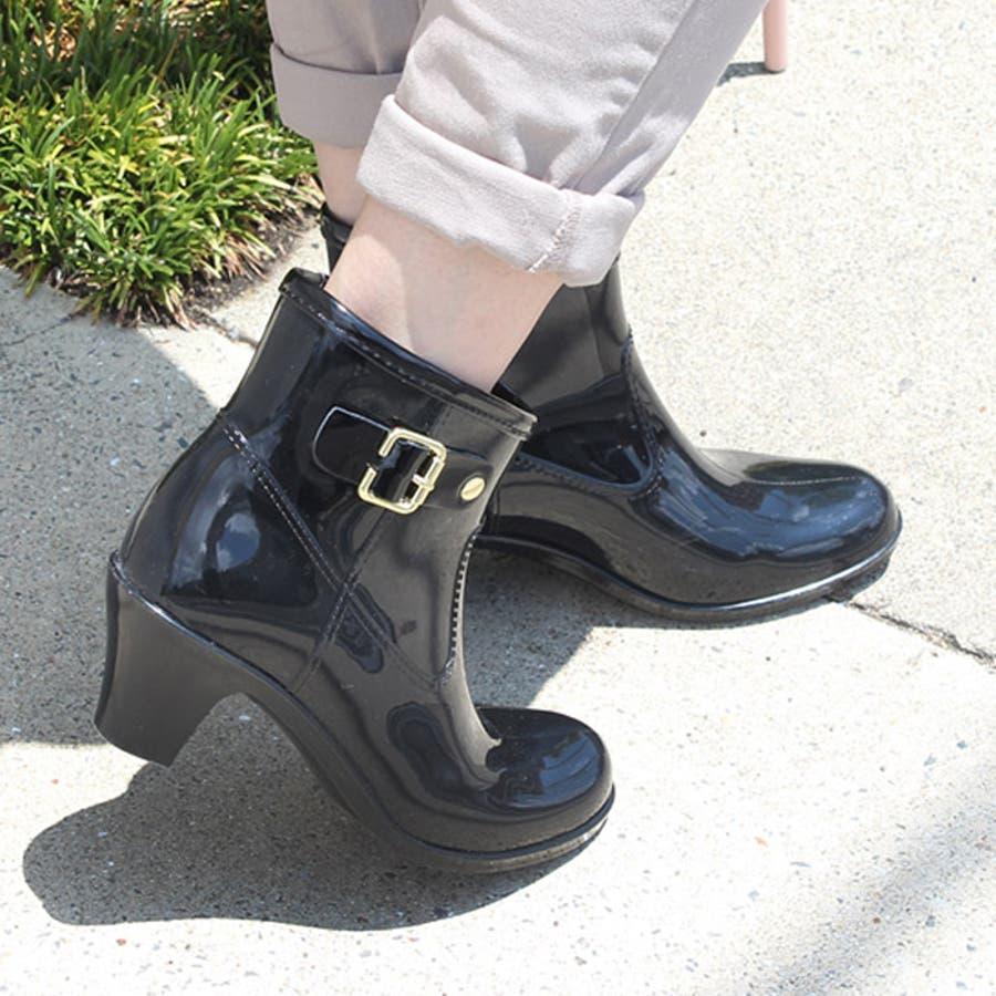 6cmヒールアップ バイカラーレインブーティレインブーツ ブーツ ショートブーツ 長靴 雨靴 黒 ラバーレディースベルトブーティバイカラー ブラックネイビー【lucky5days】 シューズ 靴 21
