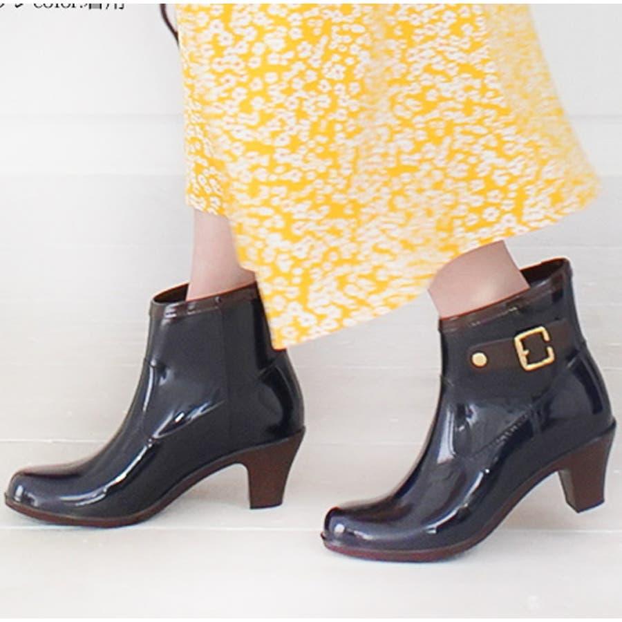 6cmヒールアップ バイカラーレインブーティレインブーツ ブーツ ショートブーツ 長靴 雨靴 黒 ラバーレディースベルトブーティバイカラー ブラックネイビー【lucky5days】 シューズ 靴 64