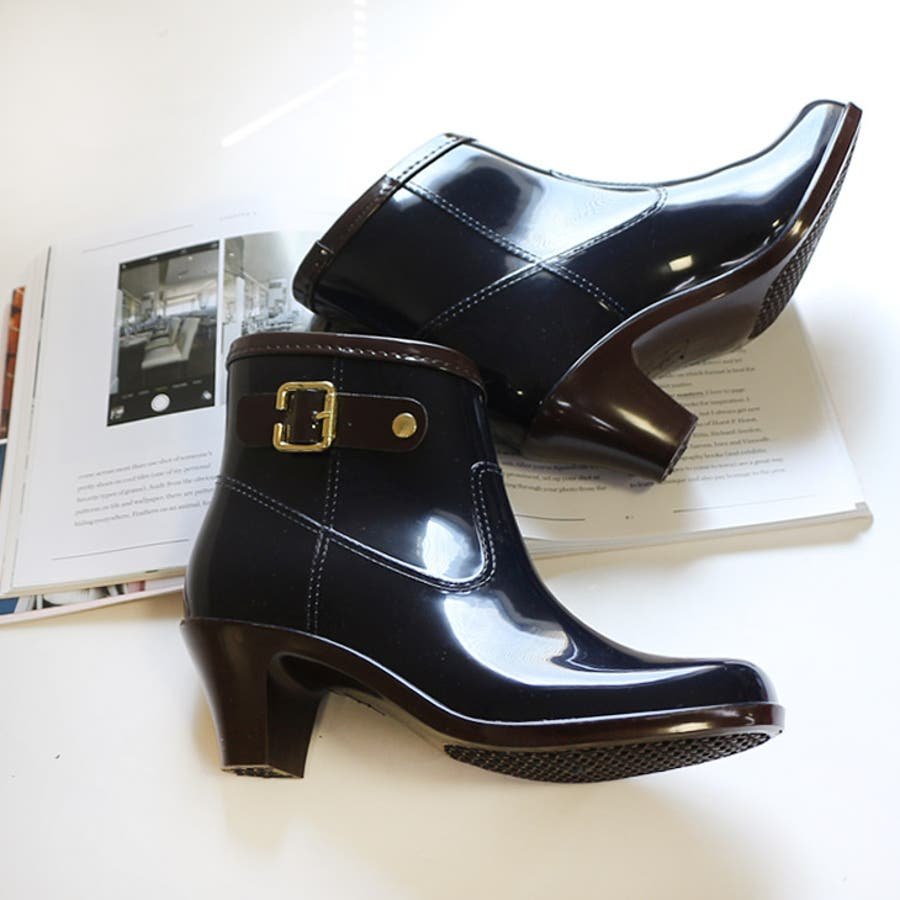 6cmヒールアップ バイカラーレインブーティレインブーツ ブーツ ショートブーツ 長靴 雨靴 黒 ラバーレディースベルトブーティバイカラー ブラックネイビー【lucky5days】 シューズ 靴 5