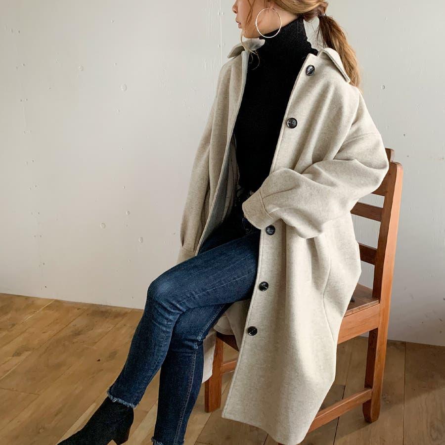 袖タックロングコート/カジュアル フェミニン 大人 アウター 韓国 韓国ファッション 人気  18