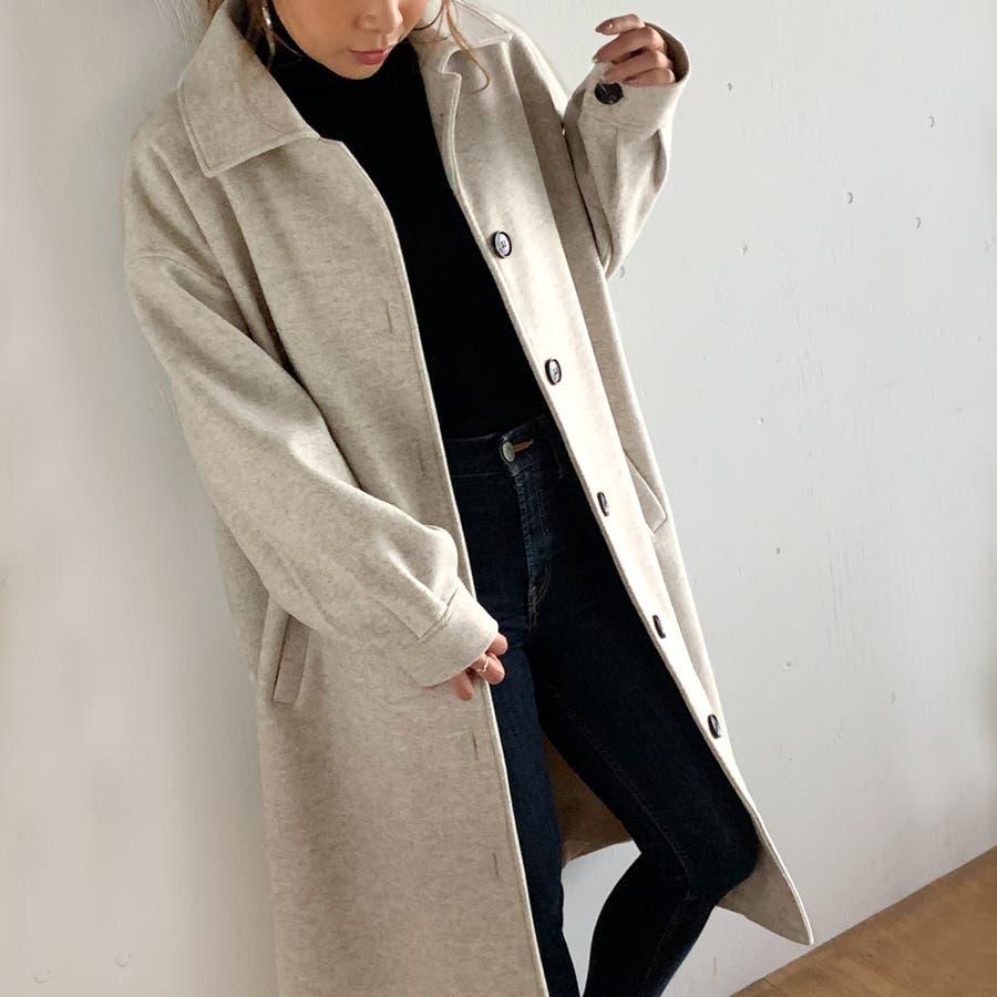 袖タックロングコート/カジュアル フェミニン 大人 アウター 韓国 韓国ファッション 人気  4