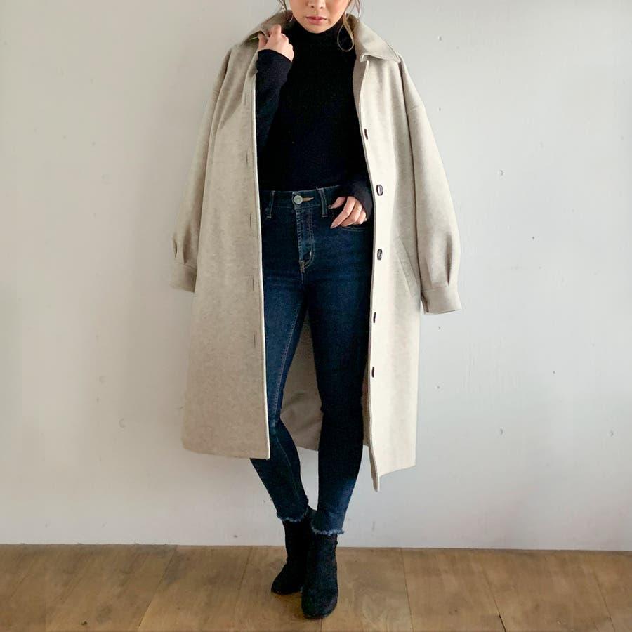 袖タックロングコート/カジュアル フェミニン 大人 アウター 韓国 韓国ファッション 人気  5