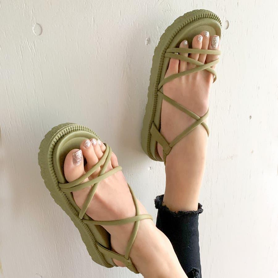 レースアップサンダル/靴 無地 シンプル 春 夏 カジュアル ストリート フェミニン 大人 韓国 韓国ファッション 人気  53