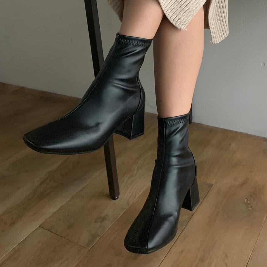 スクエアトゥフェイクレザーショートブーツ/PUレザー シンプル ミドルブーツ カジュアル ストリート フォーマル オフィス フェミニン 大人 韓国 韓国ファッション 人気  21