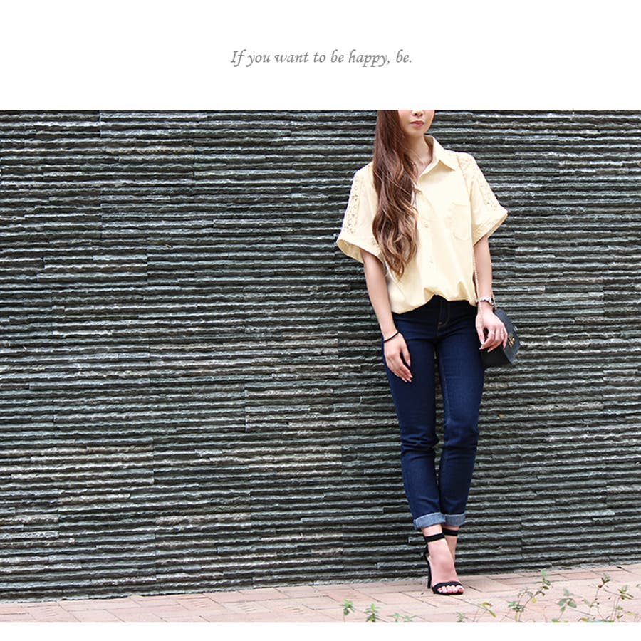 花柄 レース 刺繍 デザイン 半袖 シャツ ◎ シャツ ブラウス トップス ゆったり 人気 可愛い◎ お洒落 5