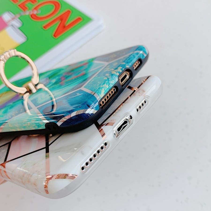 スマホケース バンカーリング付きカットライン 大理石/マーブルiPhoneケース 5